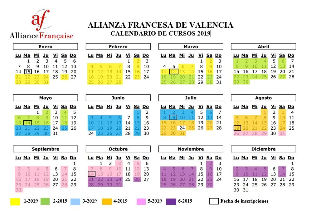 Calendario Valencia 2019.Calendario De Cursos 2019 Alianza Francesa De Valencia Venezuela
